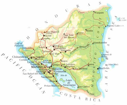 a map of nicaragua. Although Nicaragua is the